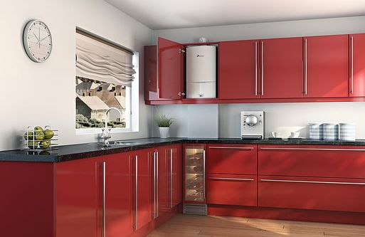 boiler in red kitchen