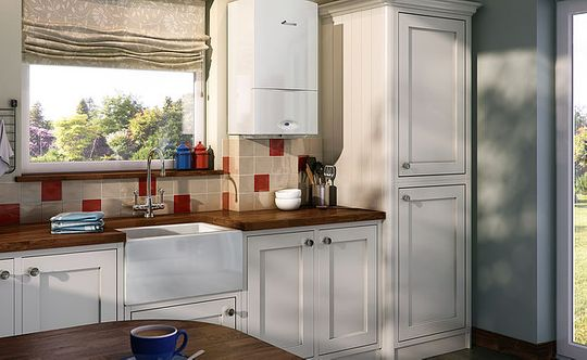 boiler in white kitchen